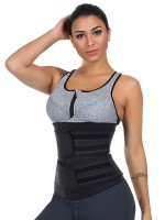 Black Latex Waist Cincher 7 Steel Bones For Fitness