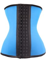 9 Steel Boned Blue Latex Waist Training Corsets Colorblock Slimming Belly