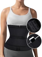Black Plus Size Latex Double Belt Waist Trainer 7 Steel Bones Compression