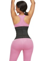 Black 25 Steel Bones Sticker Zip Latex Waist Trainer For Fitness