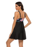 Pool Party Tankini Plunge Collar High Waist Leisure Time