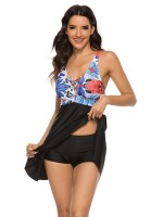 Colorful Big Size 2 Pcs Swimdress Flower Paint Super Faddish