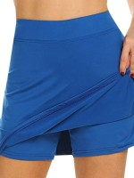 Royal Blue Athletic Skirt With Pocket Elastic Waist