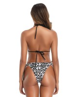 Dreamlike White Leopard Print Bikini Halter Neck Natural Women Fashion