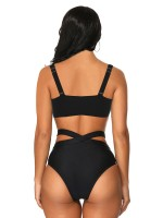 Spectacular Black Cross Straps Cutout Bikini High Rise