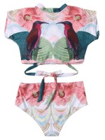 Beautifully Designed 2 Pieces Swimwear Tie High Waist Fashion