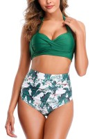 Super Faddish Green Halter Lace-Up Bikini Set High Waist Tailored