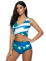 Breathable Blue Star Print 2 Pieces Swimsuit Big Size Smooth