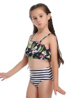 Cheeky Green 2 Pieces Mom Girl Swimwear Flower Pattern Ladies Elegance