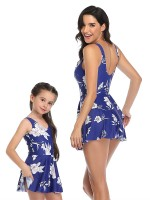 Bright Blue Strap Mother Daughter Swimwear Floral Paint Superior Quality