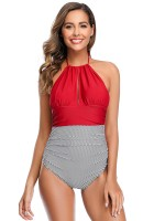 Wine Red One Piece Beachwear Halter Collar Backless Seaside Time