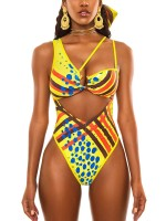 Beach Vacation Yellow Irregular Shoulder Swimsuit Hollow Out