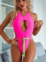 Modern Rose Red Backless Beachwear Breast Pad Hollow Out Fashion Design