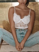 Flashy White 3 Back Closures Lace Mesh Bralette For Woman Fashion Online