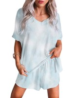 Light Blue Short Sleeve Pajamas Side Pockets Close Fitted Style