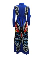 Characteristic Blue Tie Waist Maxi Dress Floor-Length Leisure Time