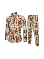 Sparkling African Big Size Button Shirt Pants Set Breath