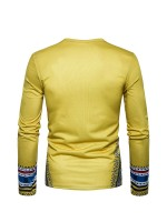 Abstract Yellow African Printing Male Top Full Sleeve Versatile Item