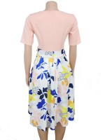 Flirting Pink Contrast Color Midi Dress Large Size Fashion Trend