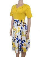 Casual Yellow Zipper At Back Plus Size Midi Dress Visual Effect