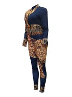 Slimming Purplish Blue Long Sleeve Zip Top Suit Leopard Print