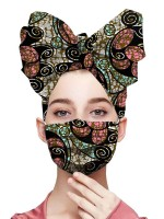 Functional African Print Twist Headscarf Dustproof Mask Regular Fit