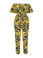 Exclusive Yellow Off Shoulder Jumpsuit African Style Versatile Item