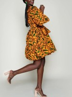Cool Yellow Bell Sleeve African Print Midi Dress Trendy Clothes
