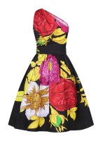 Flirting Floral Print High Waist Skater Dress Lady Fashion