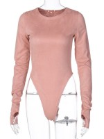 Pink Long Sleeve Button Bodysuit With Thumbhole Evening Romance