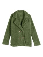 Good-Looking Green Solid Color Plus Size Padded Coat Natural Fashion