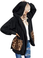 Black Plush Coat Open Front Long Sleeve Ultimate Comfort
