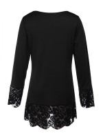 Fitness Black Tops Long Sleeve Lace Trim V-Neck Woman