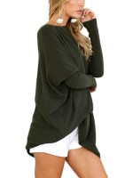 Comfortable Autumn Plus Size Green Sweaters Long Sleeves