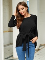 Supper Fashion Black Full Sleeves Top Dovetail Hem Tie