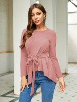 Mysterious Pink Swallowtail Hem Shirt Full Sleeve Comfort