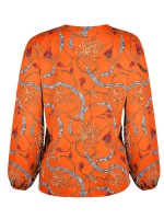 Modern Orange Cuff Elastic Blouse Button Round Collar Great Quality