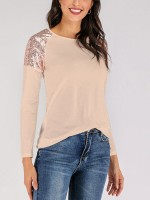 Apricot Patchwork Shirt Hip-Length Crew Neck For Street Snap