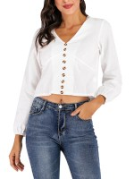 Poolside White Cropped Shirt Button Pleated Cuff Fashion Forward