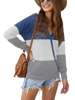 Bewitching Blouse Long Sleeve Contrast Color Tops For Women