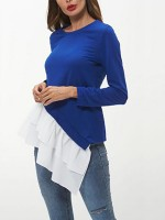 Glamorous Royal Blue Full Sleeve Shirt Irregular Hem Fashion Insider