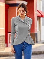 Pretty Gray Turndown Neck Long Sleeves Top Button Free Time