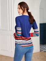 Ultra Sexy Blue Curved Hem Patchwork Round Neck Shirt For Hiking