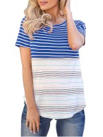 Bewitching Royal Blue Stripe Print Crew Neck T-Shirt For Vacation