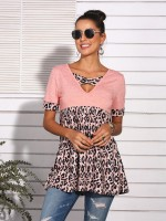 Homelike Pink Pleated Leopard Patchwork Top V-Neck Loose