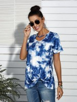 Cool Deep Blue T-Shirt Tie Dye Print Short Sleeves Female