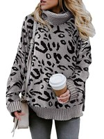 Brightly Gray Leopard Print Long Sleeve Sweater Fabulous Fit
