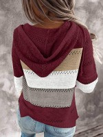 National Wine Red Hoodie Sweater Patchwork Full Sleeve Loose
