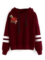 Sunshine Wine Red Full Sleeve Sweatshirt Flower Paint For Camping