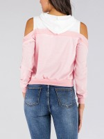 Pink Cold Shoulder Sweatshirt Hooded Neck Casual Women Clothes Online